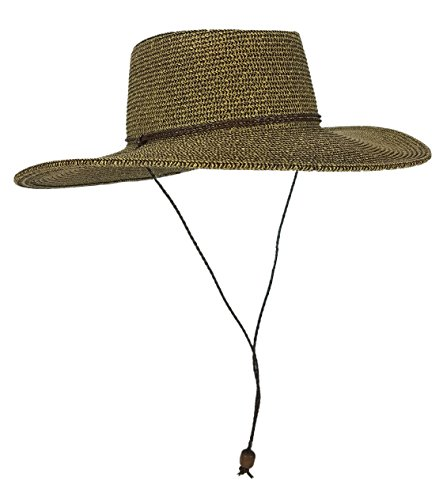 HatQuarters Straw Gambler Bolero Cowboy Hat, Packable Wide Brimmed Cap With Braided Chin Strap (Brown Tweed)