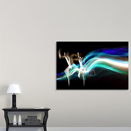 Gallery-Wrapped Canvas entitled Dance couple race abstract blue light trails by Great BIG Canvas 60''x40'' by greatBIGcanvas