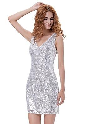 Kate Kasin Women V-Neck V-Back Sequin Glitter Bodycon Mini Party Pencil Dresses MY1069