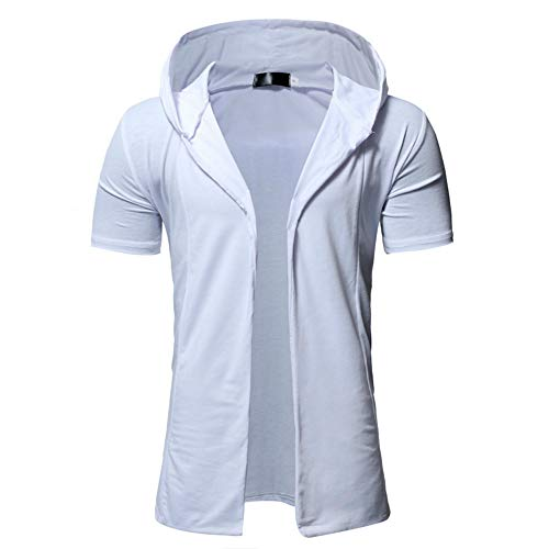 MILIMIEYIK Mens Stylish Hip Hop Sweatshirt Short Hoodies Cardigan Black Cloak Outerwear ()