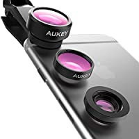 Aukey 3-In-1 Clip-On Cell Phone Camera Lens Kit for iPhone and Android Smartphones