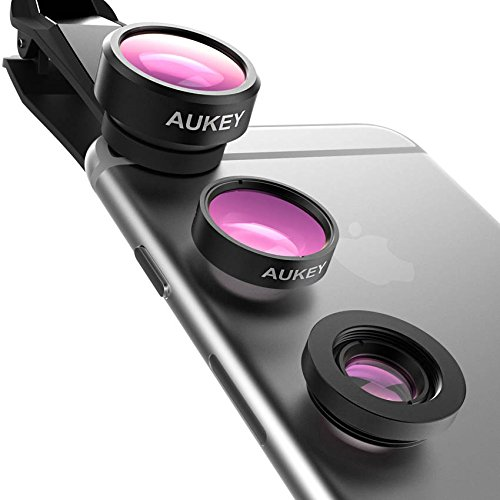 AUKEY Optic iPhone Camera Lens, 180° Fisheye Lens + 110° Wide Angle + 10X Macro Mini Clip-on iPhone Lens Kit for iPhone, Samsung, Android Smartphones by AUKEY