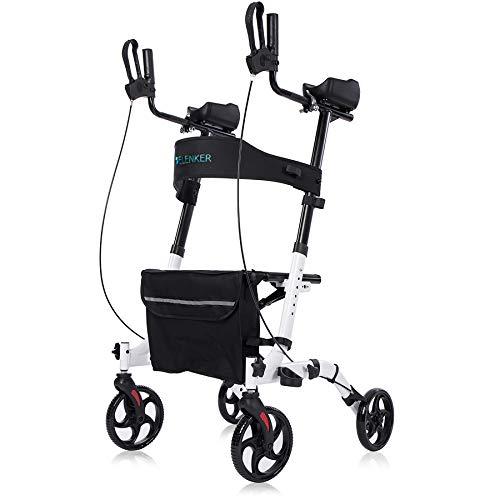 ELENKER Upright Walker, Stand Up Folding Rollator Walker Back Erect Rolling Mobility Walking Aid with Seat, Padded…