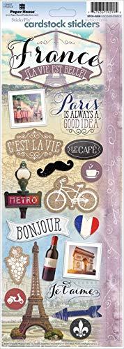 "Sticker Scrapbooking Paper House Cardstock Flat Explore France Eiffel Paris 13"""