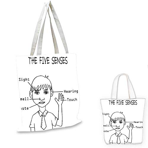 Educational ultralight shopping bag Five Senses Shown on Little Boy Portrait Explanatory Texts Monochrome Drawing canvas tote bagBlack White. 12