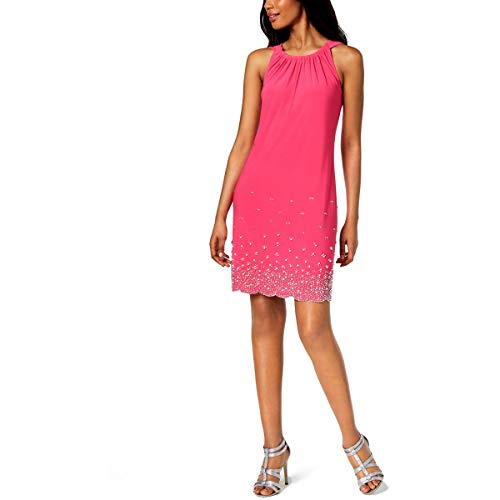 MSK Womens Gathered Beaded Shift Dress Pink S