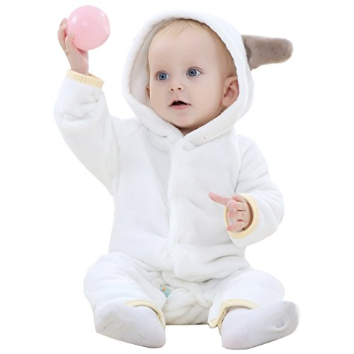 0-6 Month Bear Costume (BELIFECOS Unisex-baby White Bear Pajamas Flannel Romper Costume Outfits Onesie)