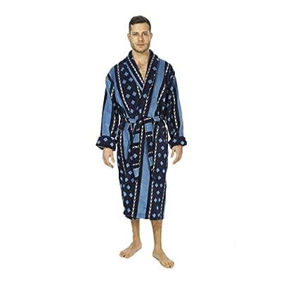 Cromer Men's Bathrobe by Bown of London, Finest Egyptian Cotton Velour Towel Robe in Light Blue & Navy Pattern