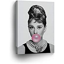 Audrey Hepburn Bubble Gum Chewing Gum Black and White Canvas Print Home Decor/Iconic Wall Art/Gallery Wrapped Canvas Art Stretched/Ready to Hang (12 x 8)