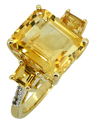 YoTreasure 7.19 Ct Citrine White Topaz Solid 14K Yellow Gold Women's Engagement Ring