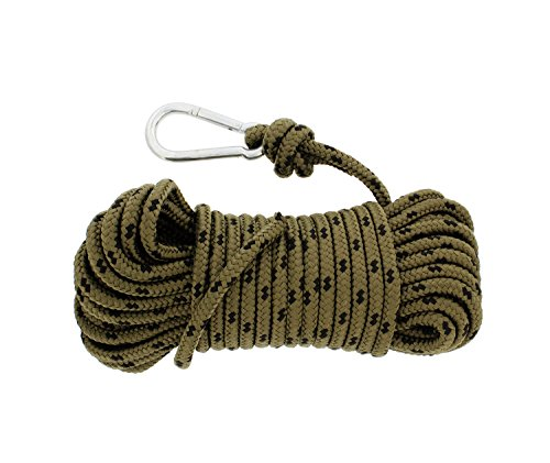 "Redneck Convent Nylon Braided Rope & Carabiner 3/8"" Inch x 50' Feet 220 lbs Pound – Cleat Tensioner Rigging Device Tie Down Strap Anchor"