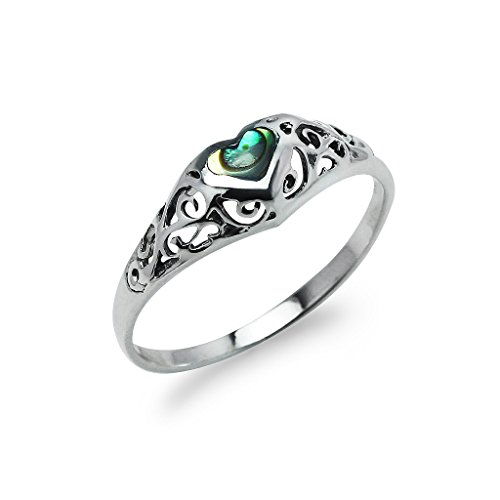 Sterling Filigree Heart Ring (Solitaire Filigree Heart Abalone Sterling Silver Friendship Promise Band Ring for Women, Size 6)