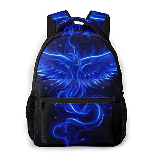 Blue Fire Flame Phoenix Bird Black Daypack, Large Capacity Shoulder Bag Travel and Sport Backpack Rucksack, Casual College School Daypack Casual Daypack Climbing Business Shoulder Bag