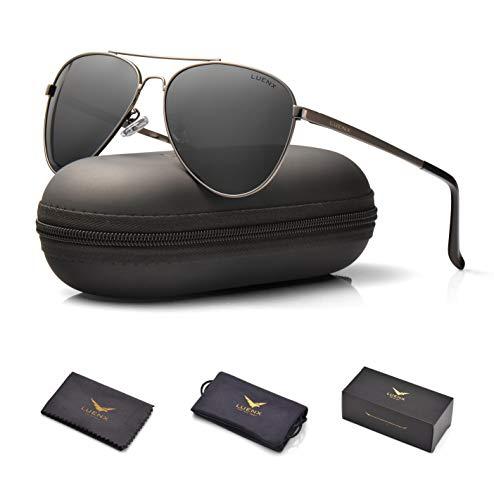 LUENX Men Women Aviator Sunglasses Polarized Non-Mirror Grey Lens Gun Metal Frame with Acces sories UV 400 Protection 60MM ()