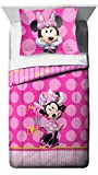 Jay Franco Minnie Mouse Bigger Bow Comforter and Sham Set (Offical Disney Product)