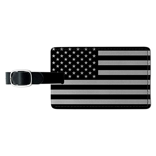 Subdued American USA Flag Black White Rectangle Leather Luggage Card ID Tag ()