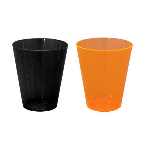 Party Essentials 100 Count Halloween Shot Glasses, 1 oz, Orange/Black (Halloween Plastic Shot Glasses)
