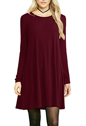 Cheap Dress For Sale (Women's Crewneck T-Shirt Dress Casual Long Sleeve Loose Tunic Top Shirt Wine Red S)