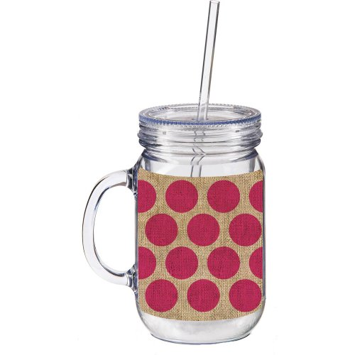 Cypress 2AJ022 Polka Dot Double Walled Mason Jar Insulated Mug, Pink/Burlap