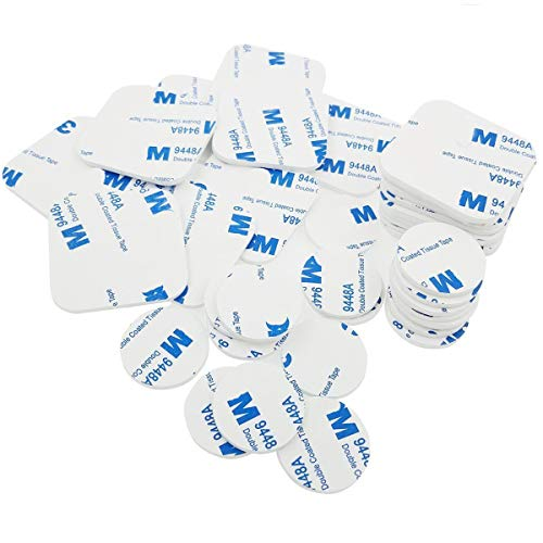 M-Jump 40pcs Adhesive Tape Double Sided White Foam Tape Strong Pad Mounting Adhesive (Square+Round) (3 Meter Adhesive Foam Tape)