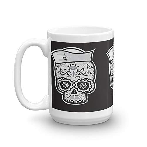 Marinero muerto sugar skull 15 Oz White Ceramic]()