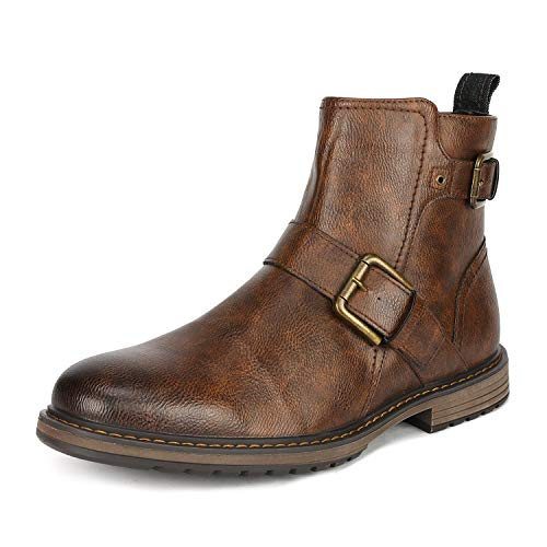 Leather Buckle Boot - Bruno Marc Men's Philly_16 Brown Combat Motorcycle Oxfords Boots Size 11 M US
