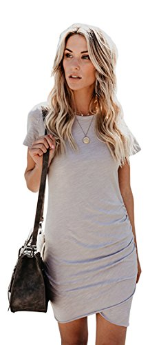 Mini Bust Discount (ALAIX Women's Elegant Bodycon Round Neck Short Sleeve Mini T Shirts Casual Dress Irregular Hem Grey-S)