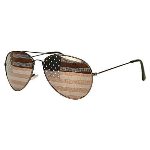 MJ Boutique Patriotic American Flag Aviator Sunglasses USA Glasses Gift Box (Gunmetal, USA - Patriotic Aviator Sunglasses