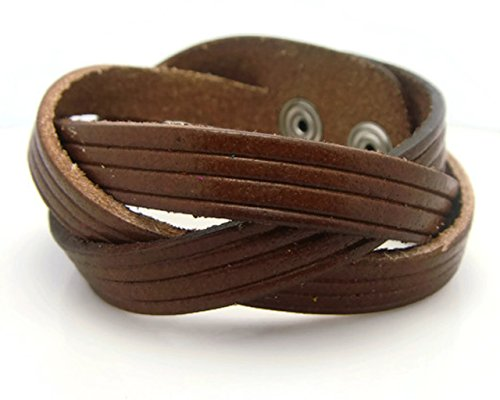 APECTO Jewelry Quality Brown Leather Wristband Cuff Bracelet, MB1 (Hindu Halloween Costumes)