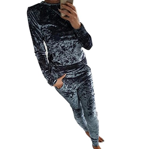 kaifongfu Women Tracksuit Set,Ladies Crushed Velvet Lounge Suit Casual Sweatshirt + Pants (M, -