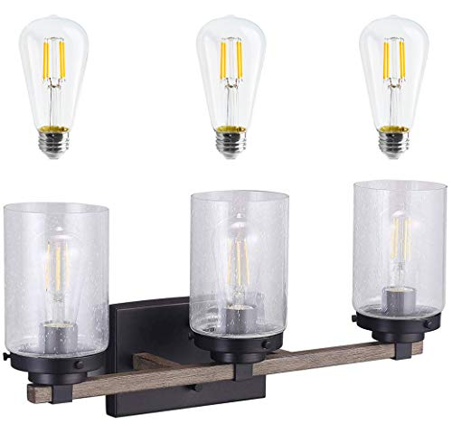 Cloudy Bay 3 Light Distressed Black and Wood Bathroom Vanity Light,3pcs ST19 LED Flimament Bulbs Included for Farmhouse Lighting
