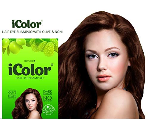iColor Organic Hair Dye Shampoo Dark Brown 25ml (0.85 ounces) x 10 sachets in a box, shampoo-in hair color, dye, Dark brown hair in 20-30 minutes, DIY, convenient, easy to use