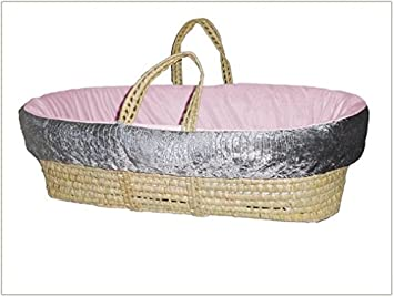 Baby Doll Bedding Croco Minky Moses Basket Ivory//Pink
