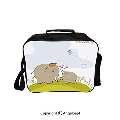 Hot Sale Lunch Container,Baby Shower Inspired with Mother Baby Elephant Love Children Decorative Cocoa Baby Blue Pistachio Green 8.3inch,Lunch Bag Large Cooler Tote Bag For Men, Women
