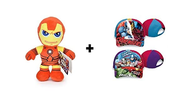 Los Vengadores (The Avengers) - Pack Gorra 100% algodón + Peluche Iron Man 30cm Calidad super soft: Amazon.es: Juguetes y juegos