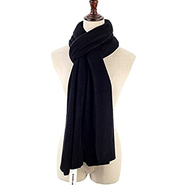 ZORJAR Solid Color Knit Cashmere Feel Long Thick Large Long Warm Winter Scarf 86 x23.6 (Black)