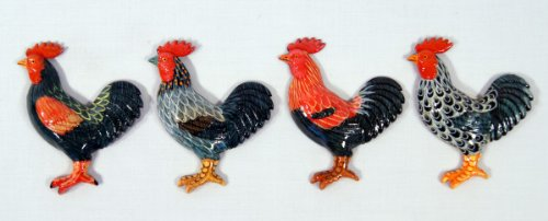 Star Hand Painted Assorted Rooster Bird Refrigerator Magn...