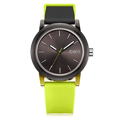 Silicone Quartz Watch Men Women Casual Analog Jelly Unisex Wrist Watch Simple Fashion Design Nice Colors Sport Watches (Bright Green Strap&Black Dial)