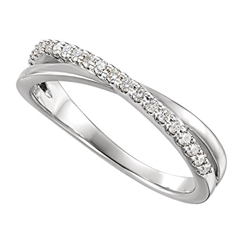 0.35 ct Ladies Round Cut Diamond Criss Cross Ring in 18 kt White Gold