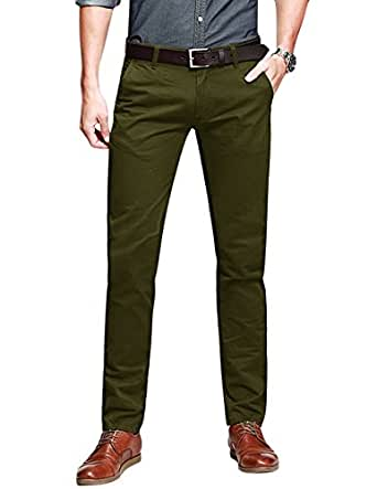 Match Men's Slim Fit Tapered Stretchy Casual Pants (29W x 31L, 8050 Army green)