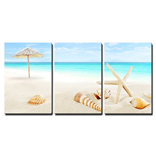 "Wall26 - 3 Piece Canvas Wall Art - Scenery of Tropical/Summer Resort. White Beach with Starfish and Seashells - Modern Home Decor Stretched and Framed Ready to Hang - 16""x24\""x3 Panels"