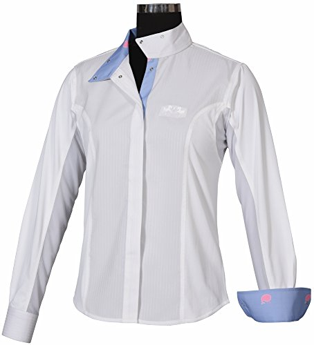Equine Couture Ladies Whales Show Shirt (White/Lt Blue, 40)