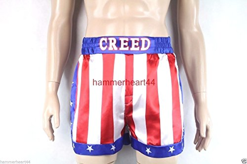CREED Rocky Men's Apollo Johnson Movie Boxing American Flag Shorts Trunks boxers small