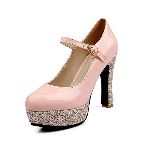 Chiusa In Delle Amoonyfashion Tacchi Vernice Toe Fibbia Solidi Rotonda Donne Alti Rosa scarpe Pompe 7vAEXX