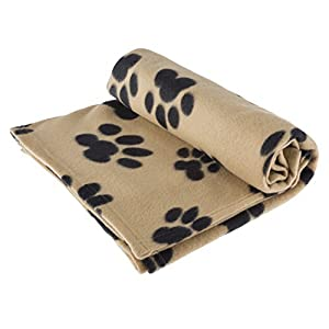 "RZA Pet Blanket Large For Dog Cat Animal 60"" x 40"" Inches Fleece Black Paw Print All Year Round Puppy Kitten Bed Warm Sleep Mat Fabric Indoors Outdoors (Tan COLOR)"