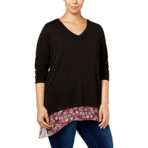 Style & Co. Womens Plus Layered Floral Print Blouse Black 3X Style & Co . Floral Blouse