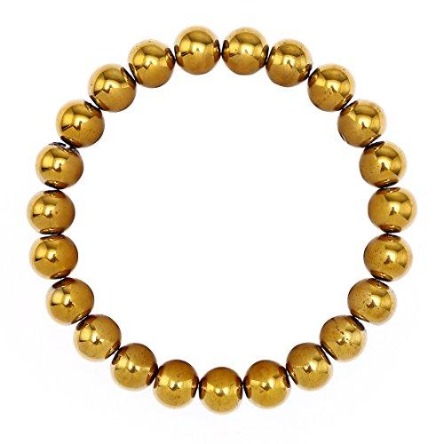 BRCbeads Gemstone Bracelets Hematite Coated Gold Enhance Color Birthstone Handmade Healing Power Crystal Beads Elastic Stretch 10mm 7.5 Inch with Gift Box Unisex