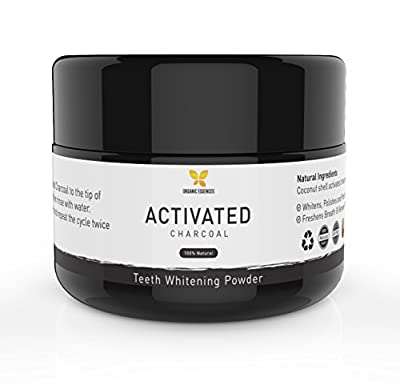 Natural Charcoal Teeth Whitening Powder - 100% Organic Activated Charcoal -Teeth & Gum Anti-Bacterial, Remineralizing Toothpaste, Safe, Fluoride Free, Non-GMO, Made in the USA