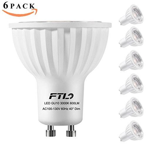 GU10 LED Bulbs,Dimmable Spot Light,3000K Warm White,7 Watt(50W 75W Halogen Bulbs Equivalent),40 Degree Beam Angle,CRI>80+,Track Lighting,Recessed Lighting,Pack of 6