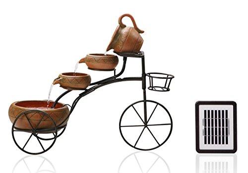 Fuente de Agua Solar Bicicleta de 4 Niveles con Jardinera: Amazon ...